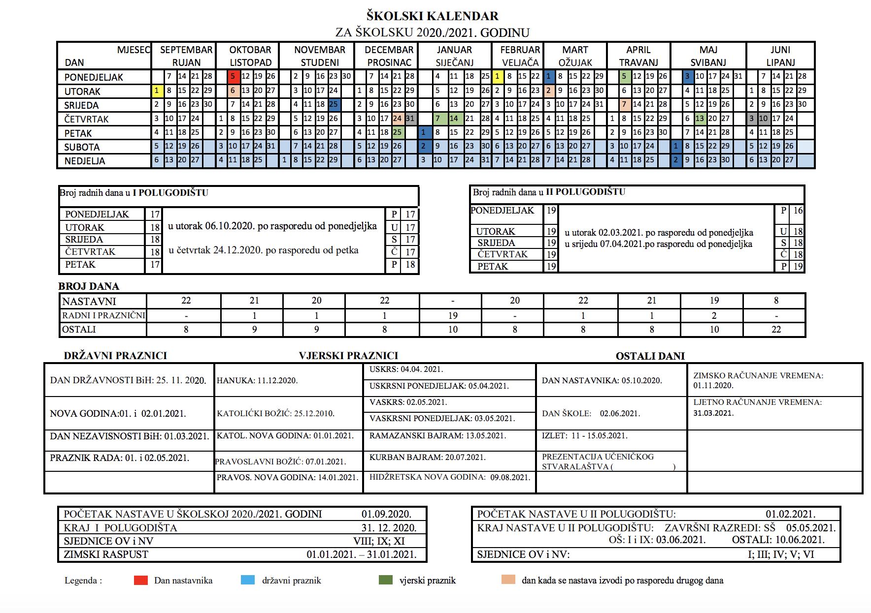 Nastavni Kalendar